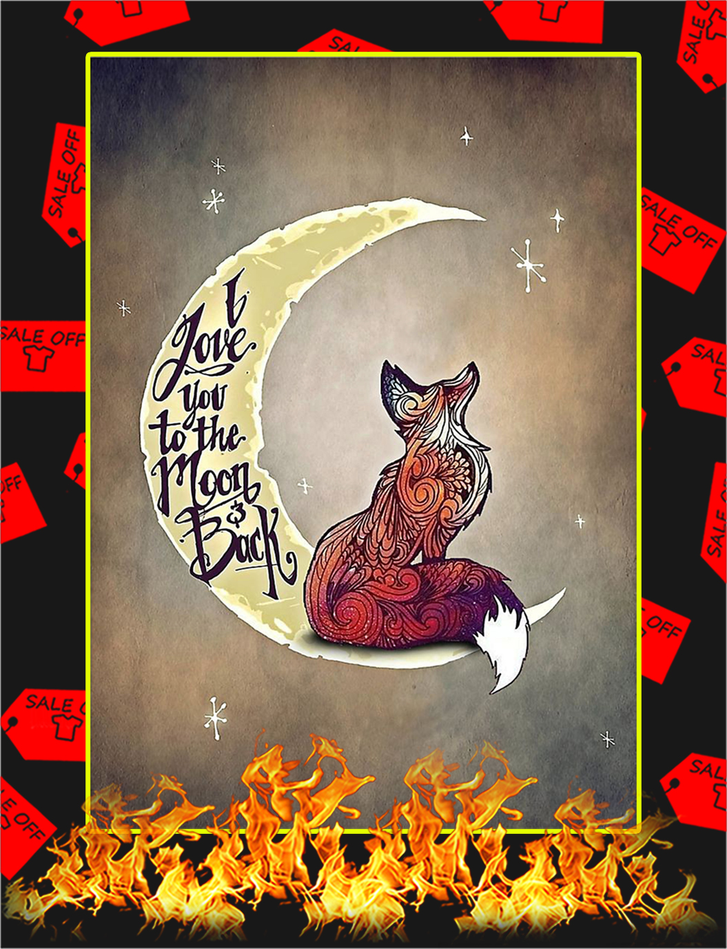 Fox I Love You To The Moon And Back Poster - A4