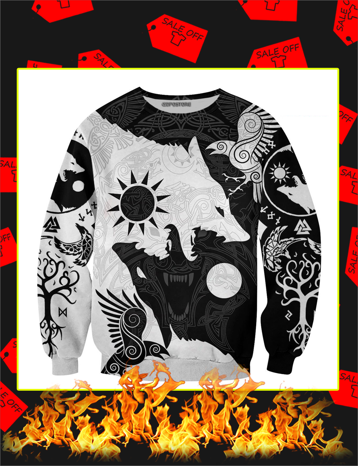 Geri And Freki Of Odin 3D All Over Printed Long Sleeve Tee
