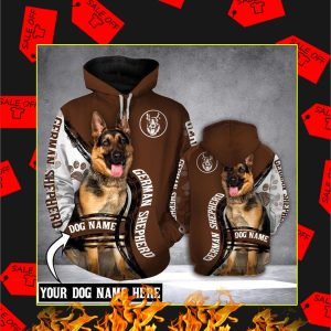 German Shepherd Dog Custom Name 3d Hoodie