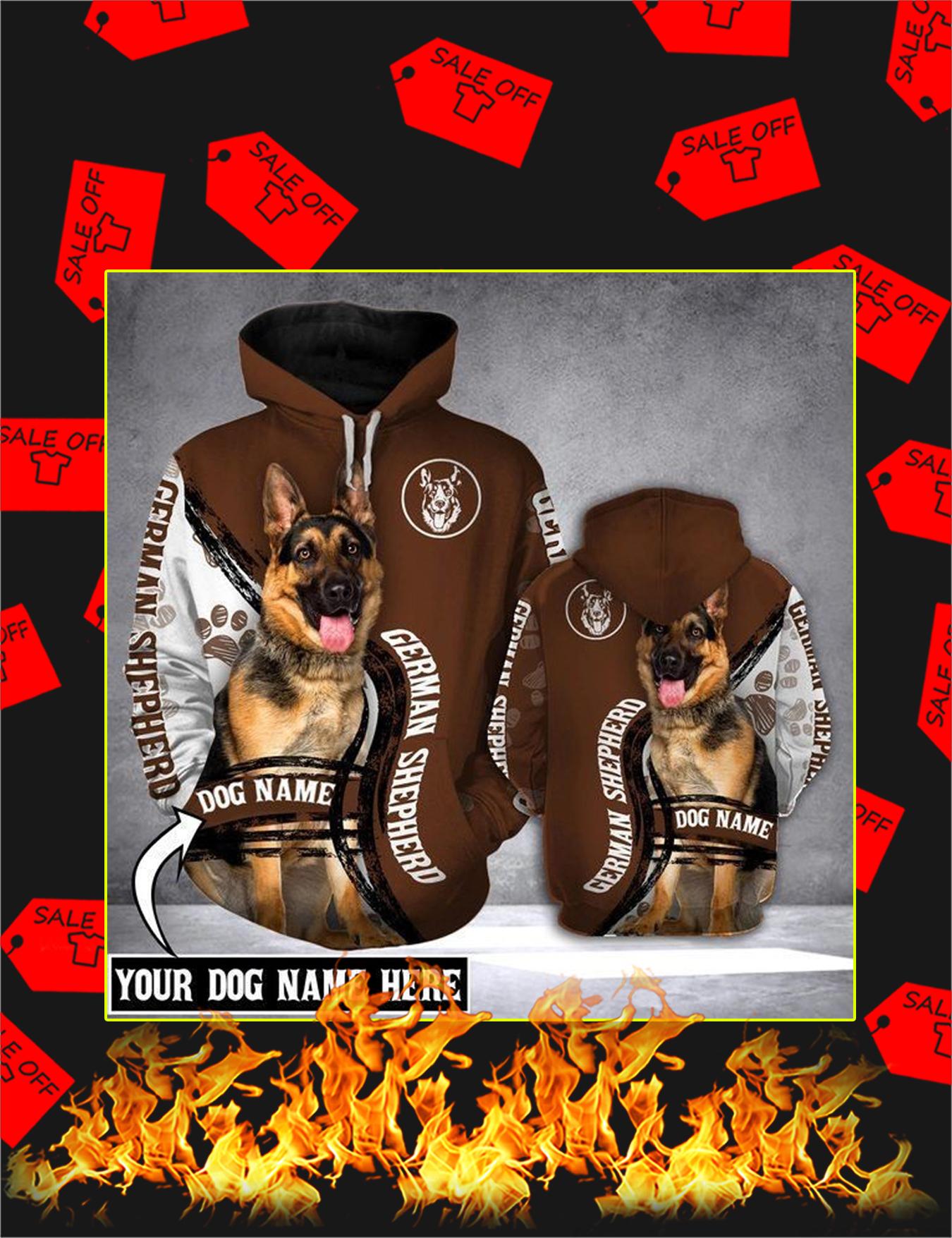 German Shepherd Dog Custom Name 3d Hoodie - Size L