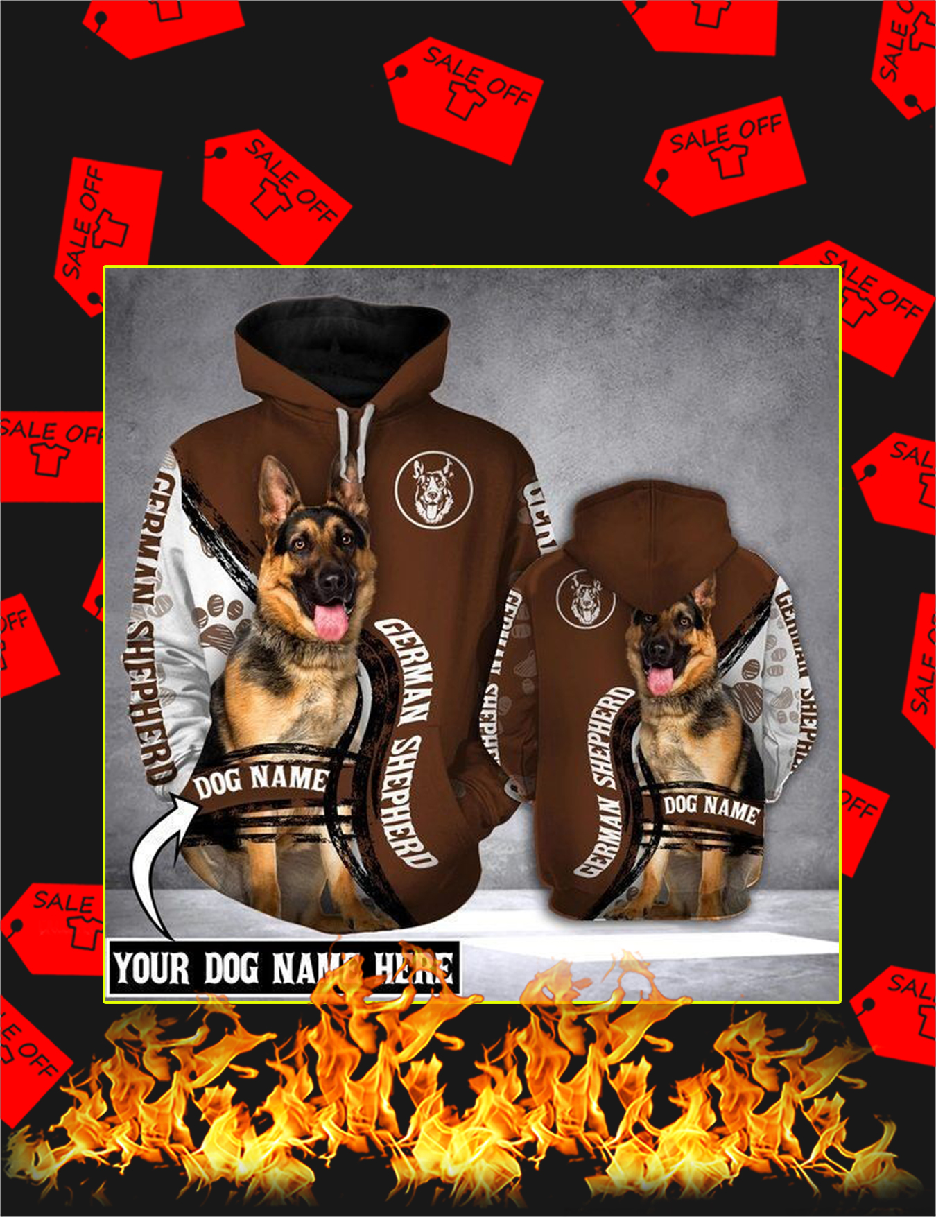 German Shepherd Dog Custom Name 3d Hoodie - Size XL