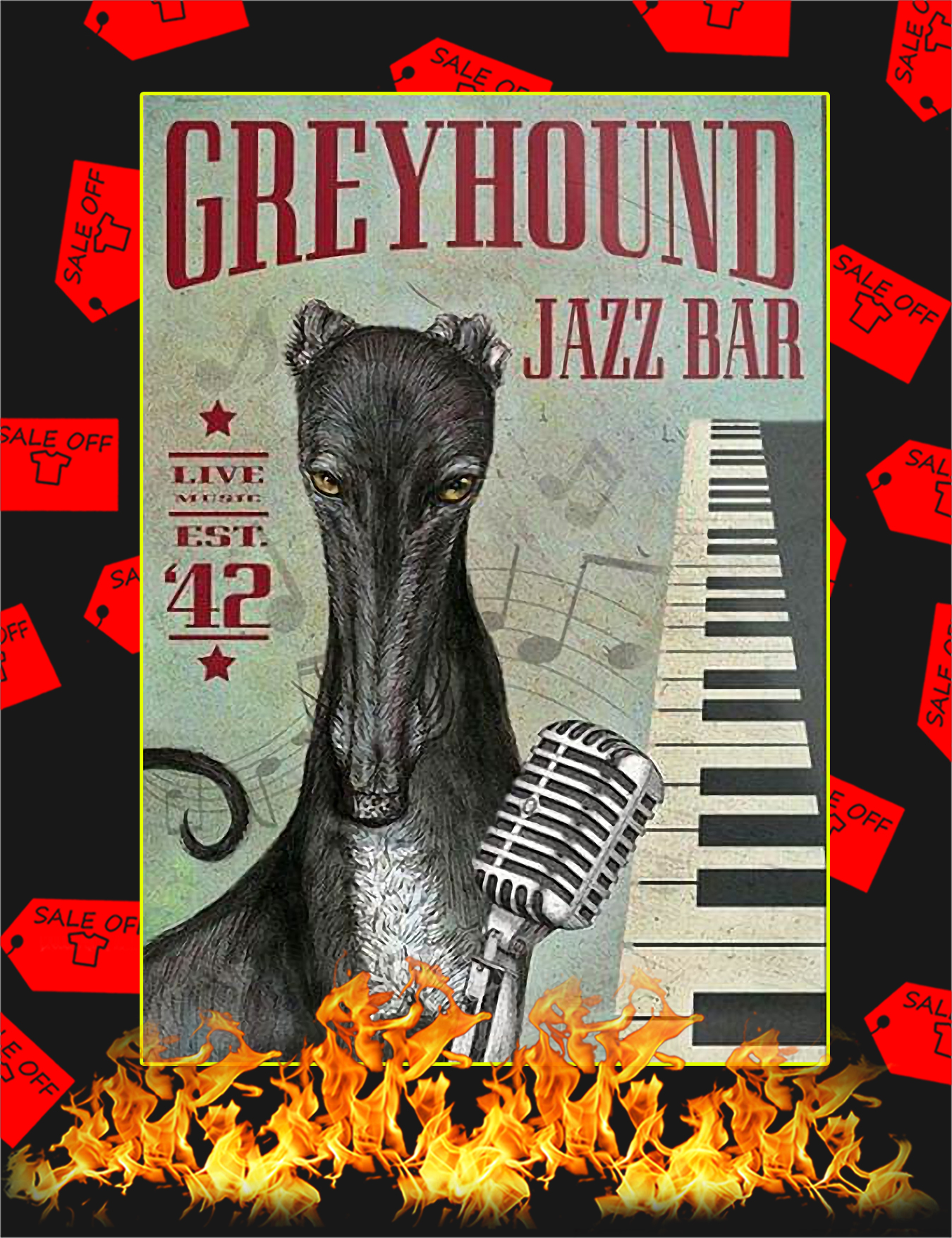 Greyhound Jazz Bar Poster - A4