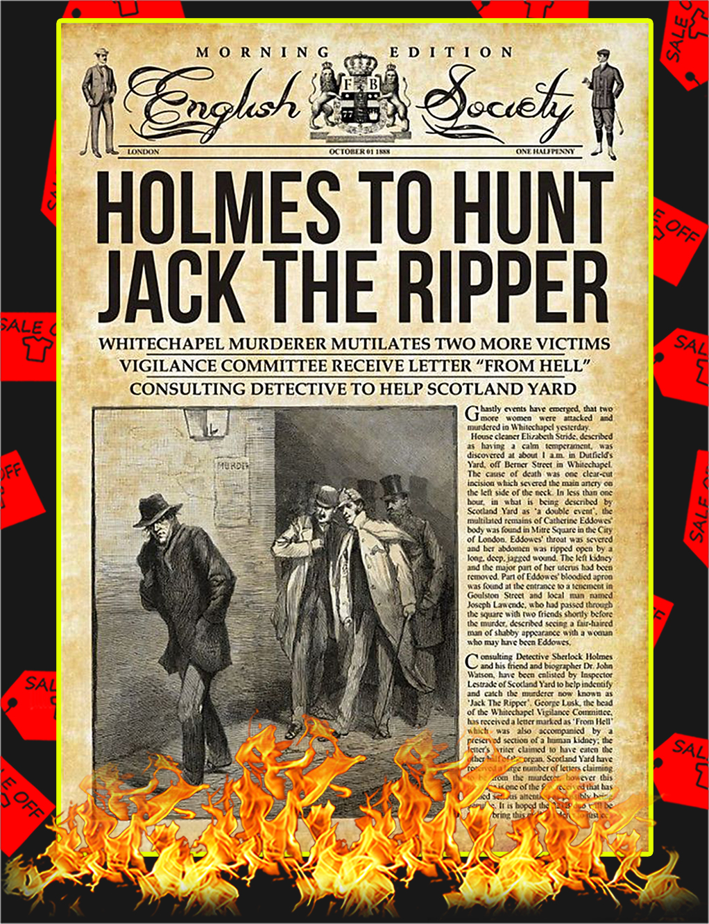 Holmes To Hunt Jack The Ripper Poster - A4