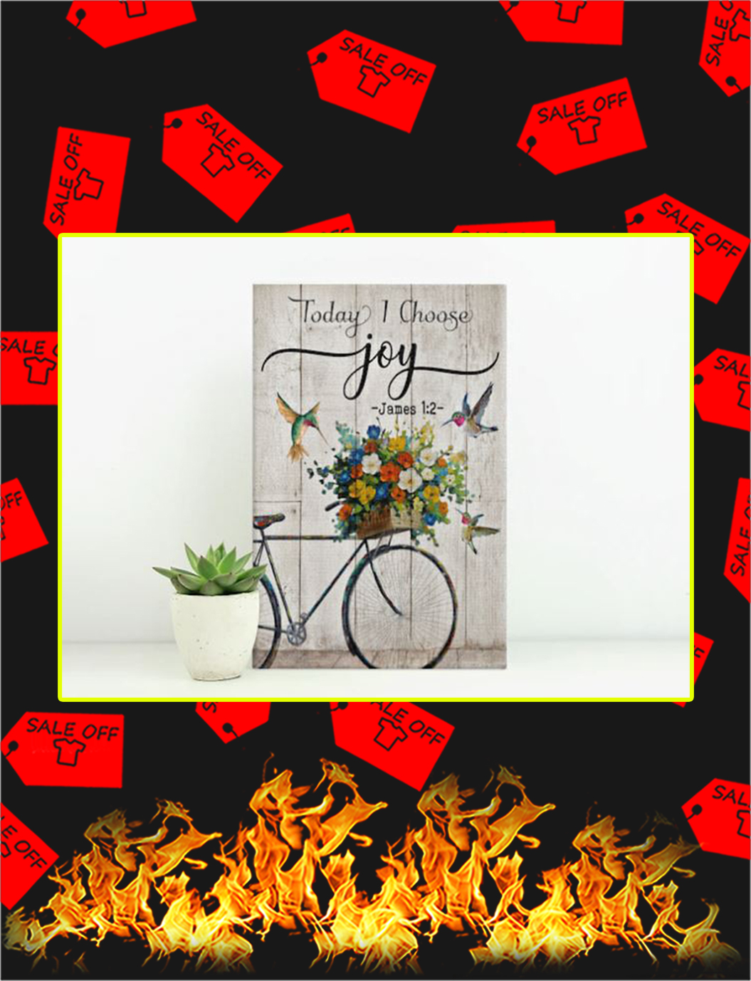 Hummingbird and Bike Today I choose joy canvas prints - medium