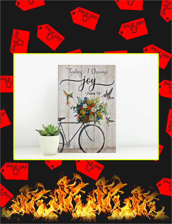 Hummingbird and Bike Today I choose joy canvas prints - small