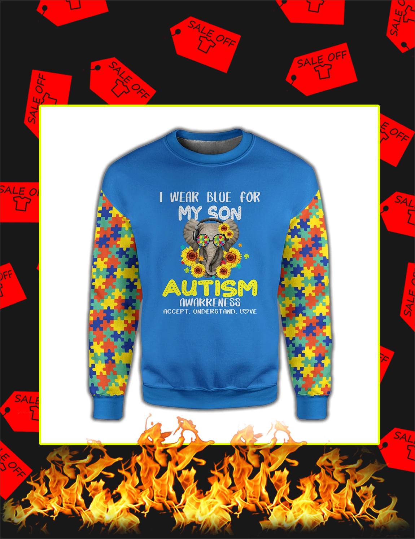 I Wear Blue For My Son Elephant Autism 3d Sweatshirt