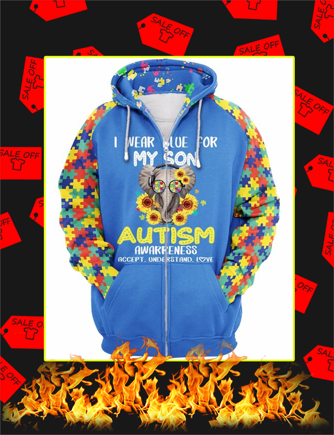 I Wear Blue For My Son Elephant Autism 3d Zip Hoodie