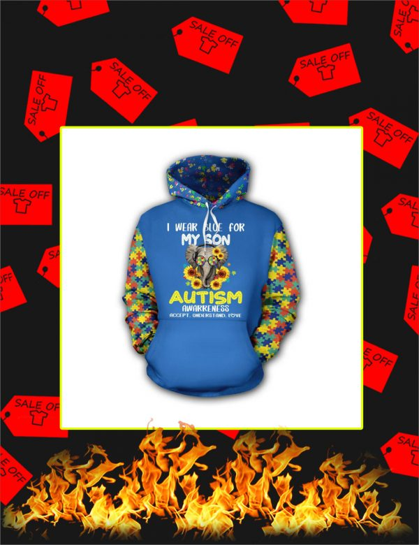 I Wear Blue For My Son Elephant Autism 3d hoodie