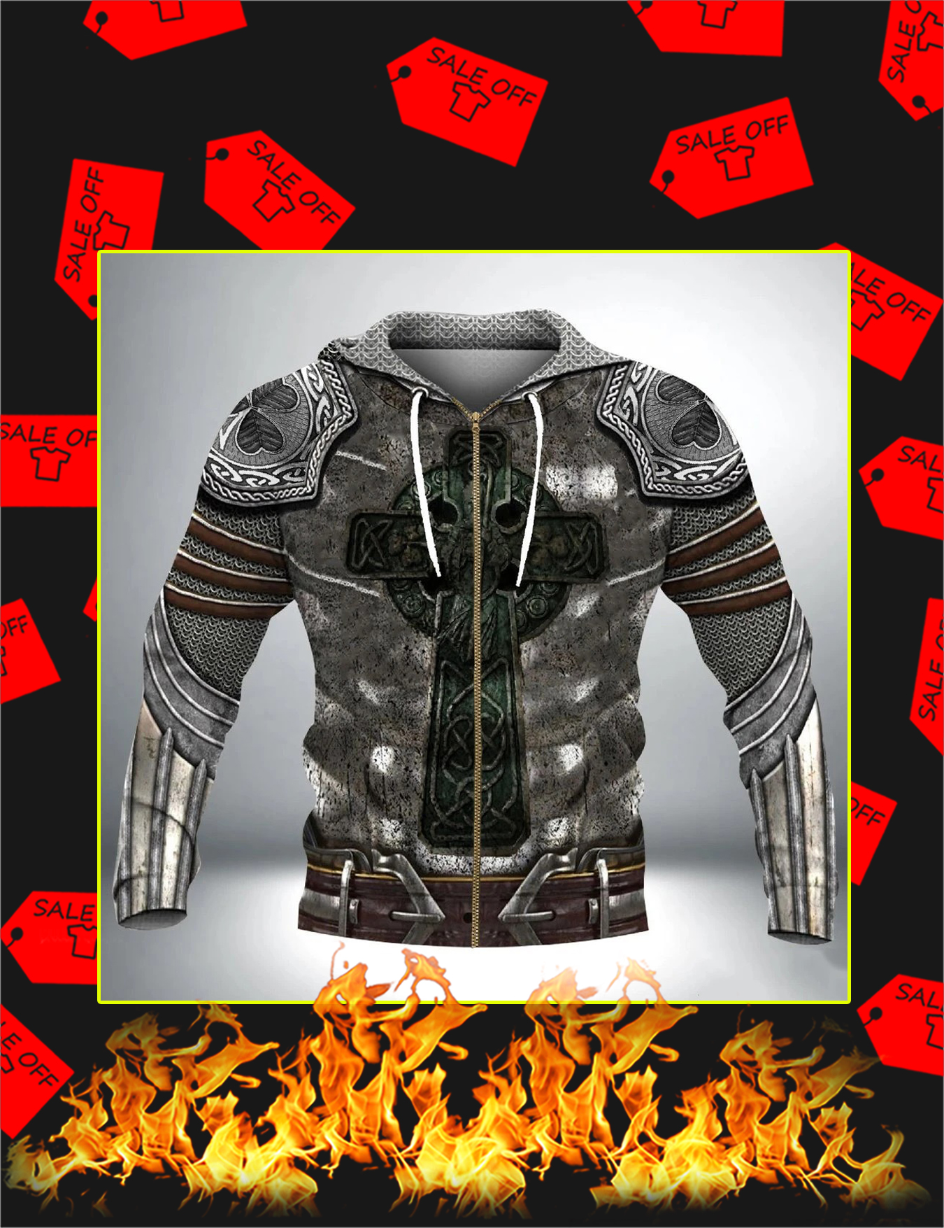 Irish Armor Knight Warrior Chainmail 3D All Over Printed Zip Hoodie - Front