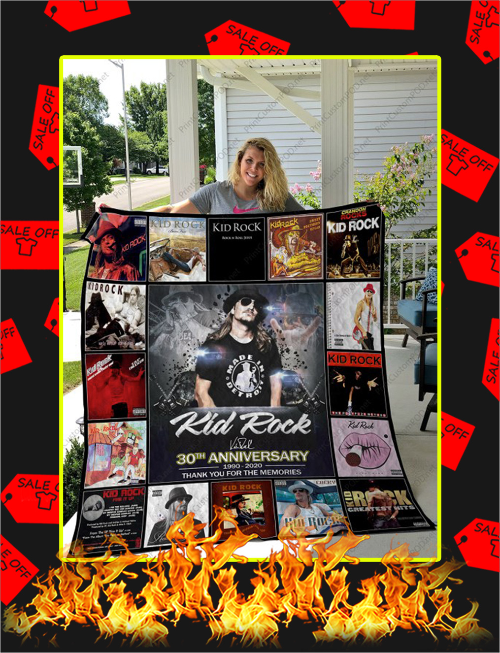 Kid Rock 30th Anniversary Thank You For The Memories Quilt Blanket - queen