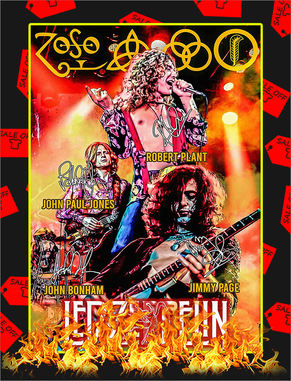 Led Zeppelin Signature Poster - A4