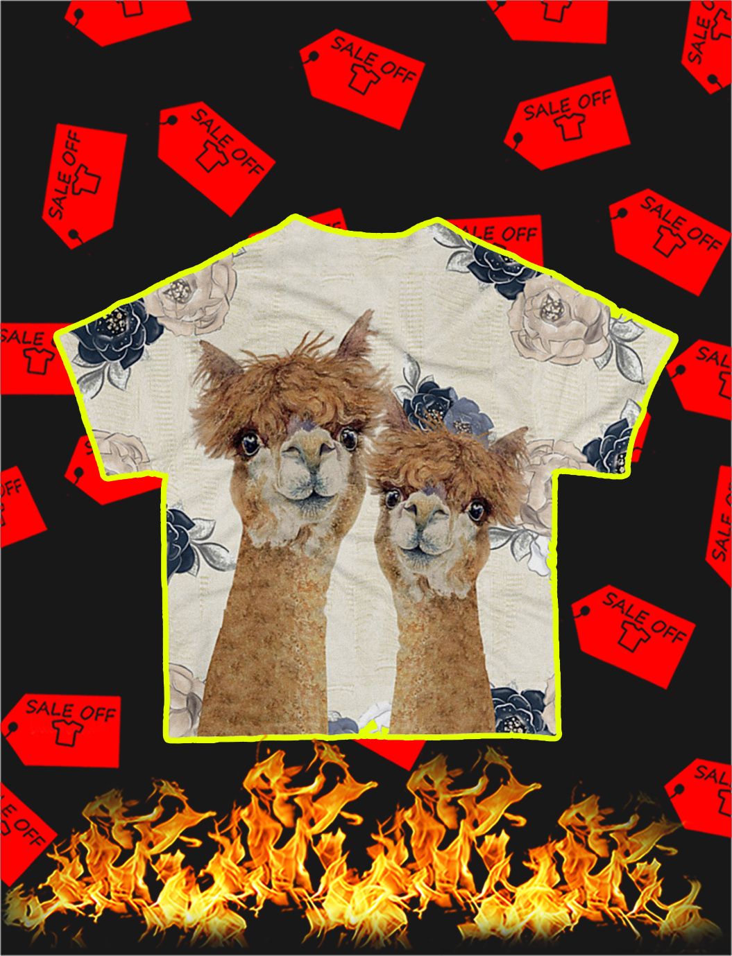 Llama and Alpace 3d All Over shirt- back