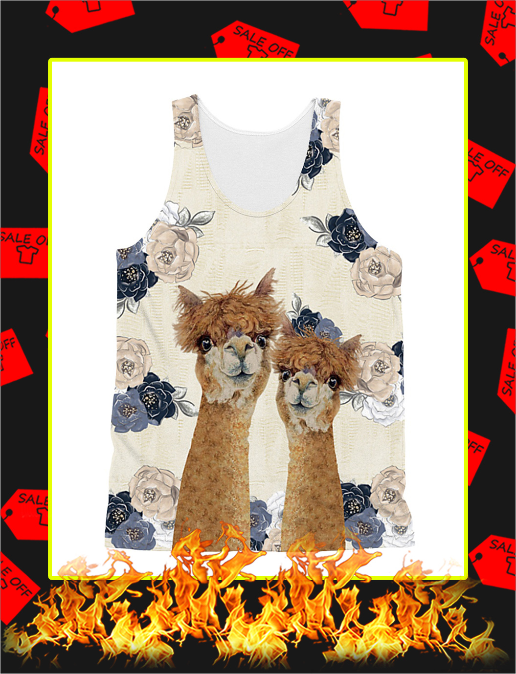 Llama and Alpace 3d All Over tank top