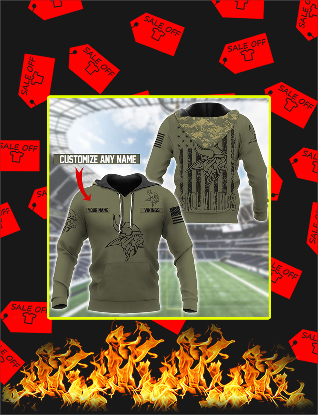 Minnesota Vikings Custom Name Personalize Hoodie - M