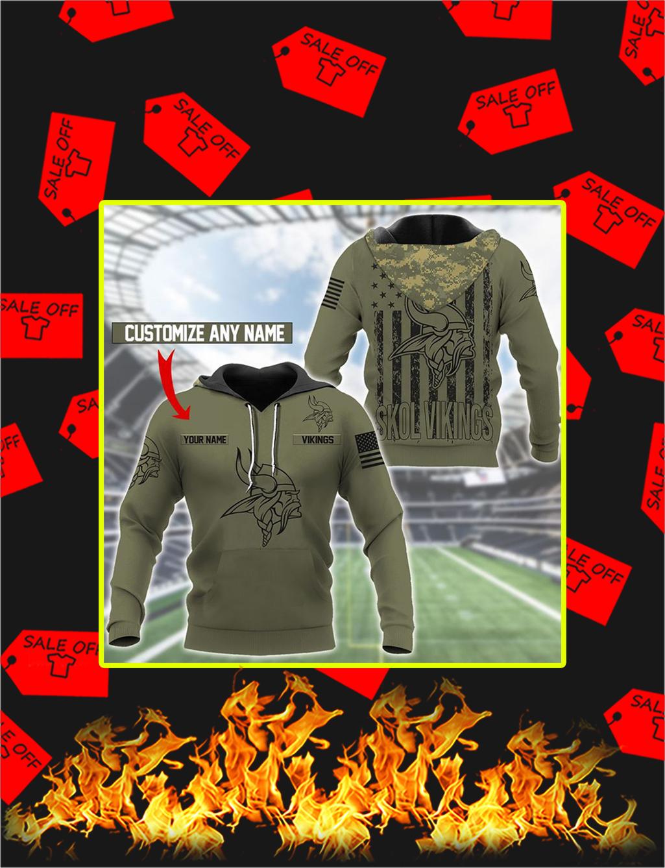 Minnesota Vikings Custom Name Personalize Hoodie - S