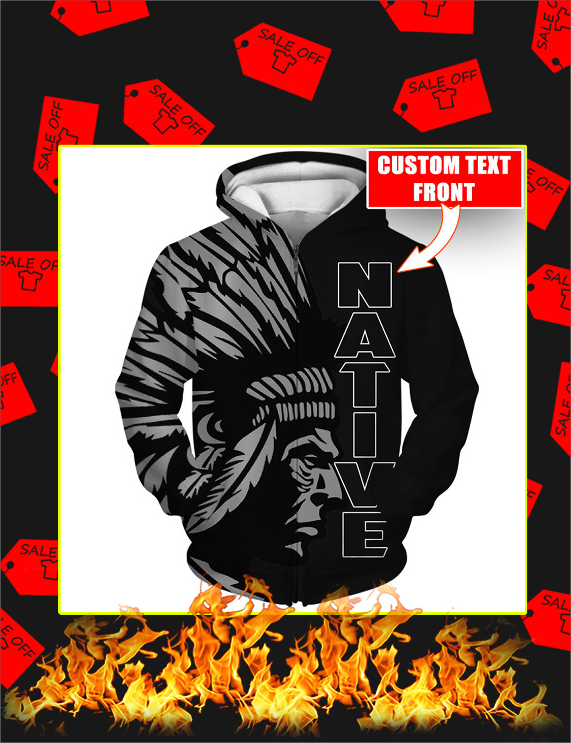 Native Personalized 3D Zip Hoodie