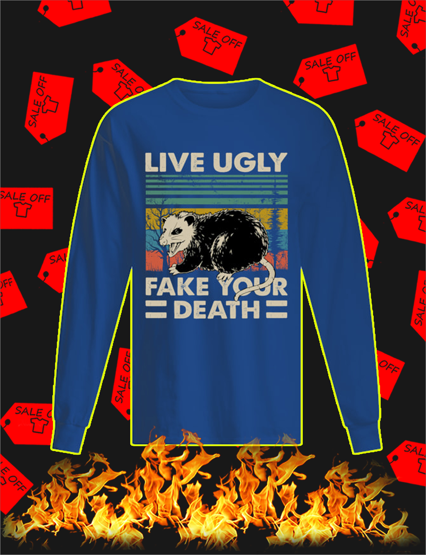 Opossum Live Ugly Fake Your Death Vintage Long Sleeve Tee