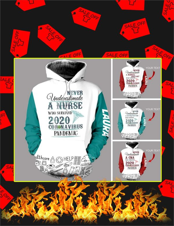Personalized Never Underestimate A CNA Who Survived 2020 Coronavirus Pandemic Custom Name 3d hoodie