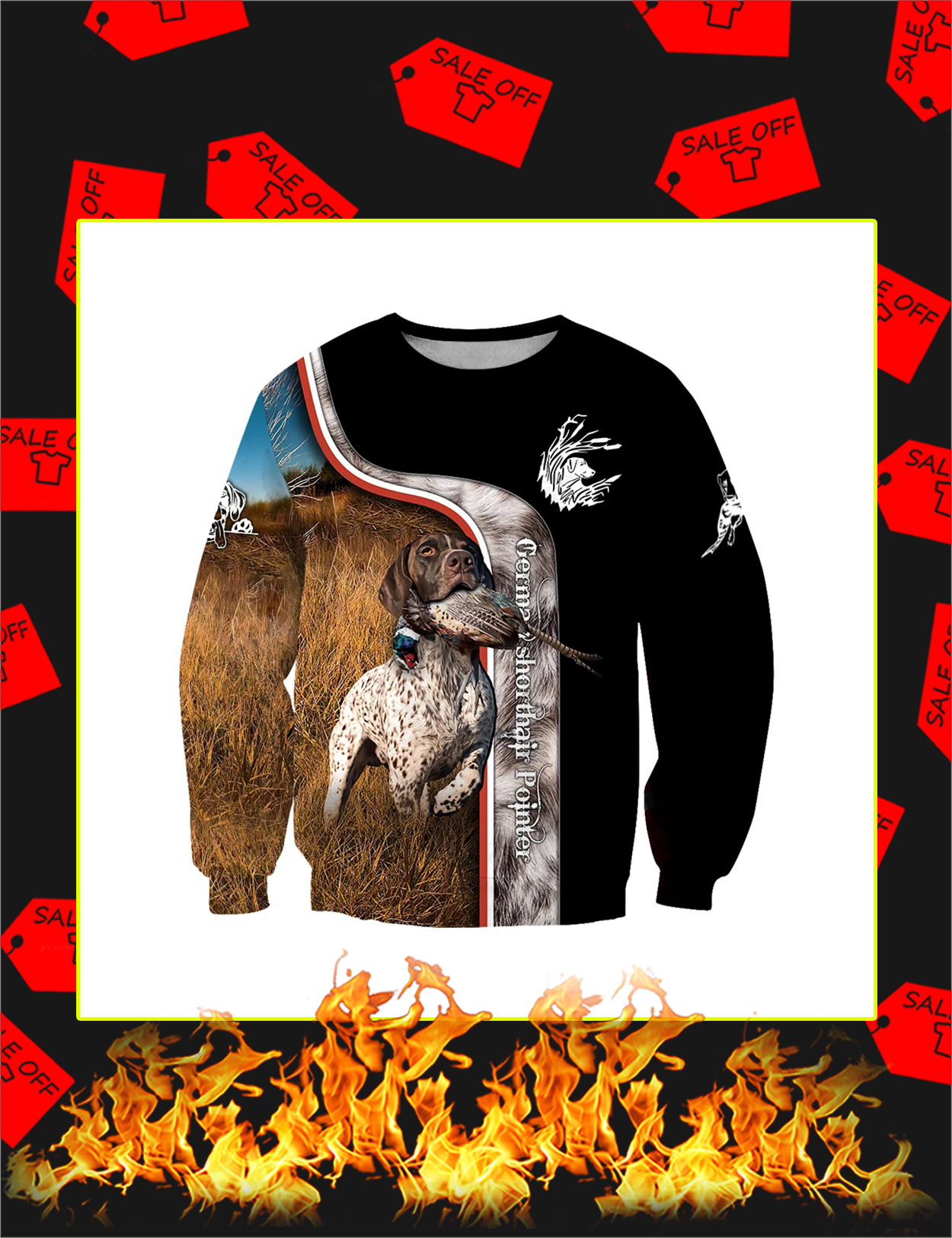 Pheasant Hunting German Shorthaired Pointer 3D All Over Printed Sweatshirt