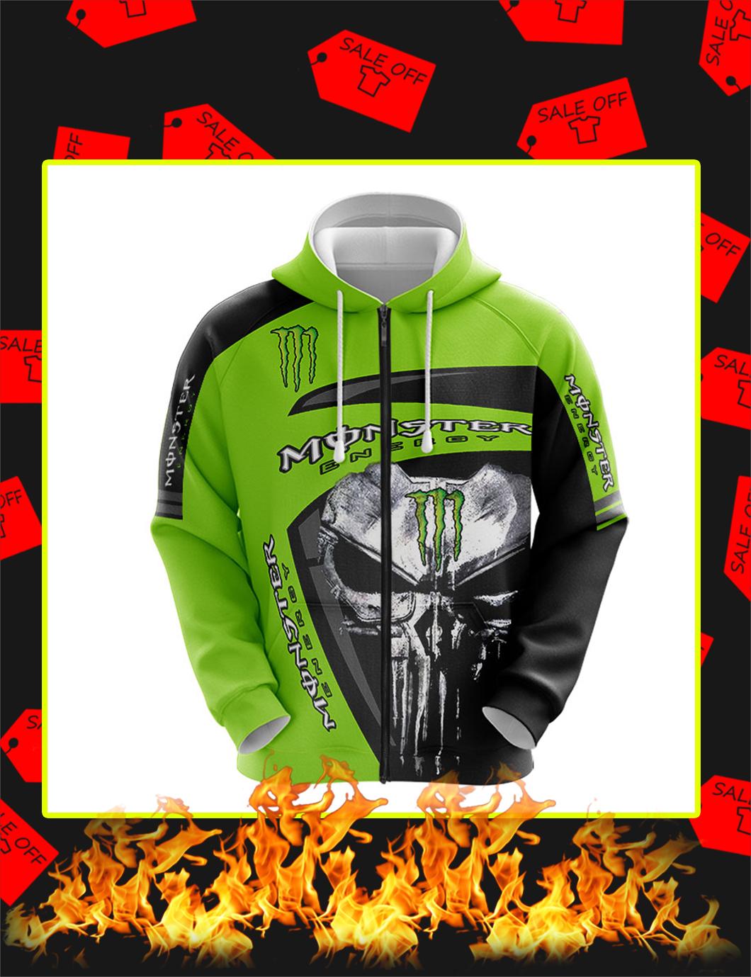 Punisher Skull Monster Energy Full Printing zip hoodie
