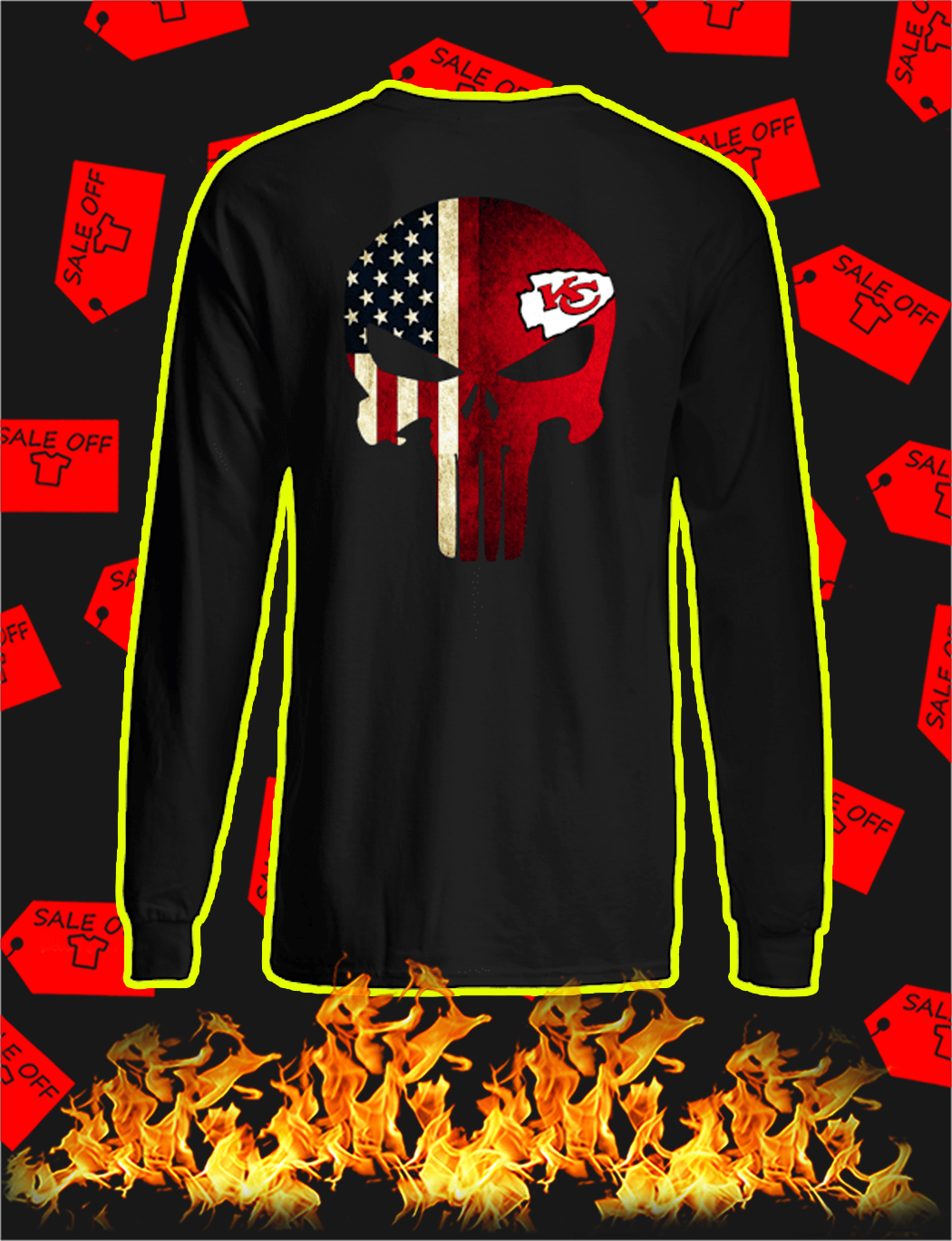 Punisher Skull US Flag Kansas City Chiefs longsleeve tee