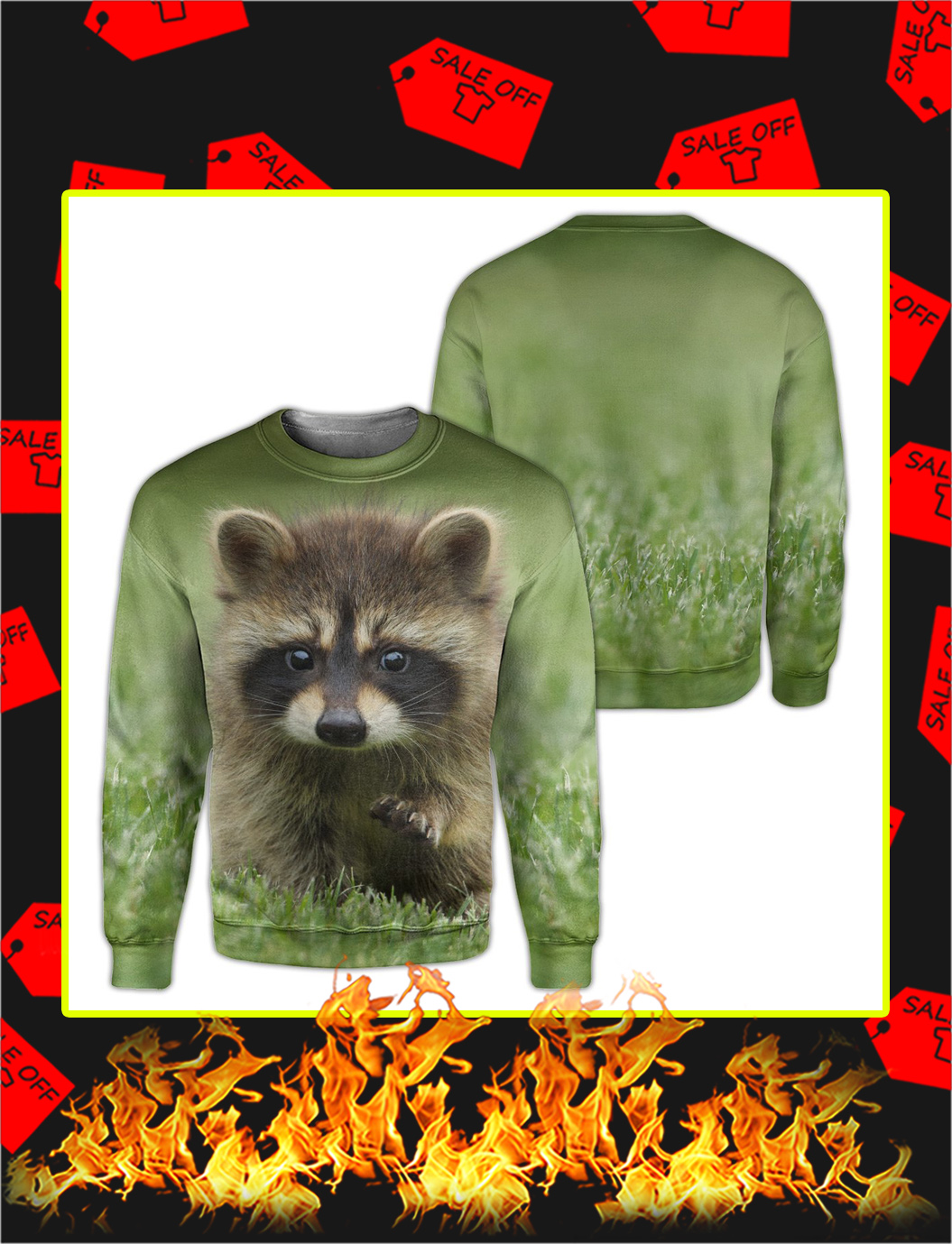 Raccoon 3d All Over Printed sweatshirt