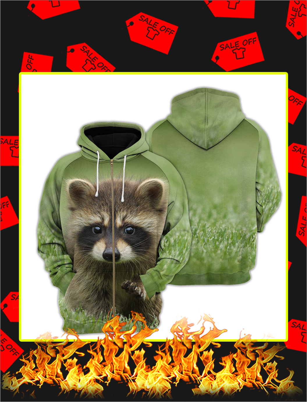 Raccoon 3d All Over Printed zip hoodie