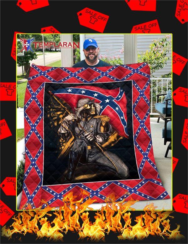 Skull Redneck Confederate Flag Blanket, Quilt