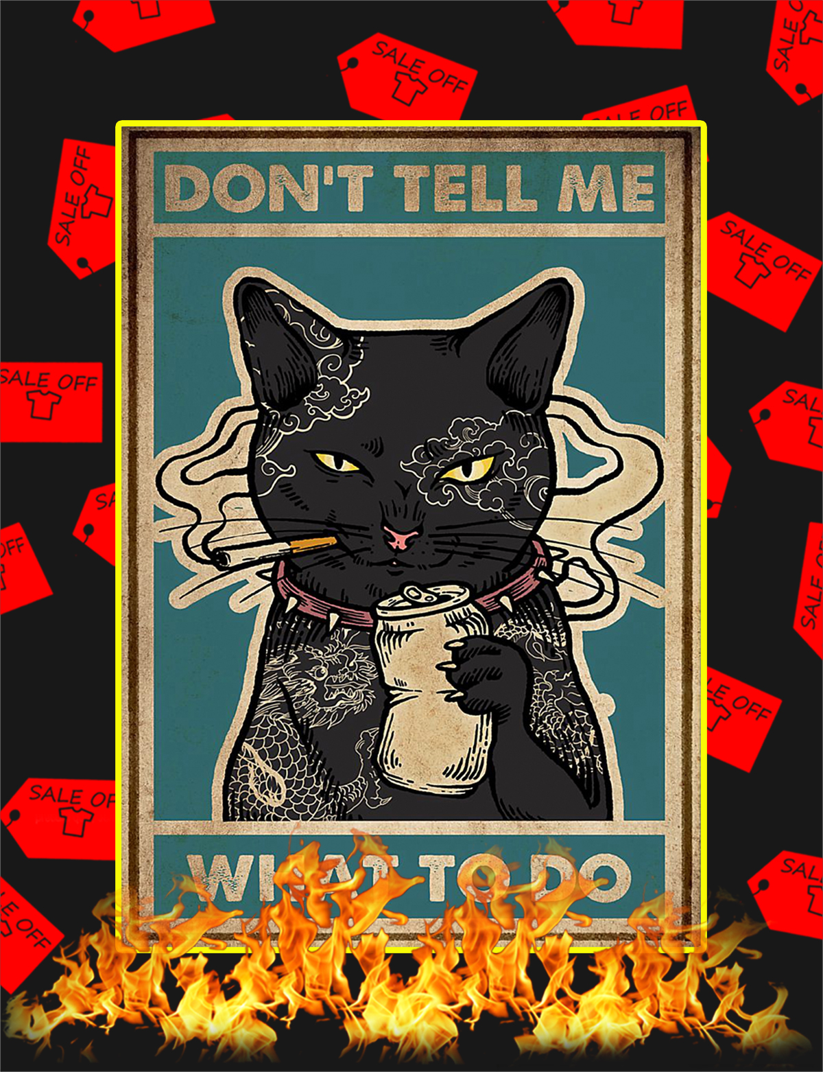 Don't tell me what to do Black Cat Poster-a3