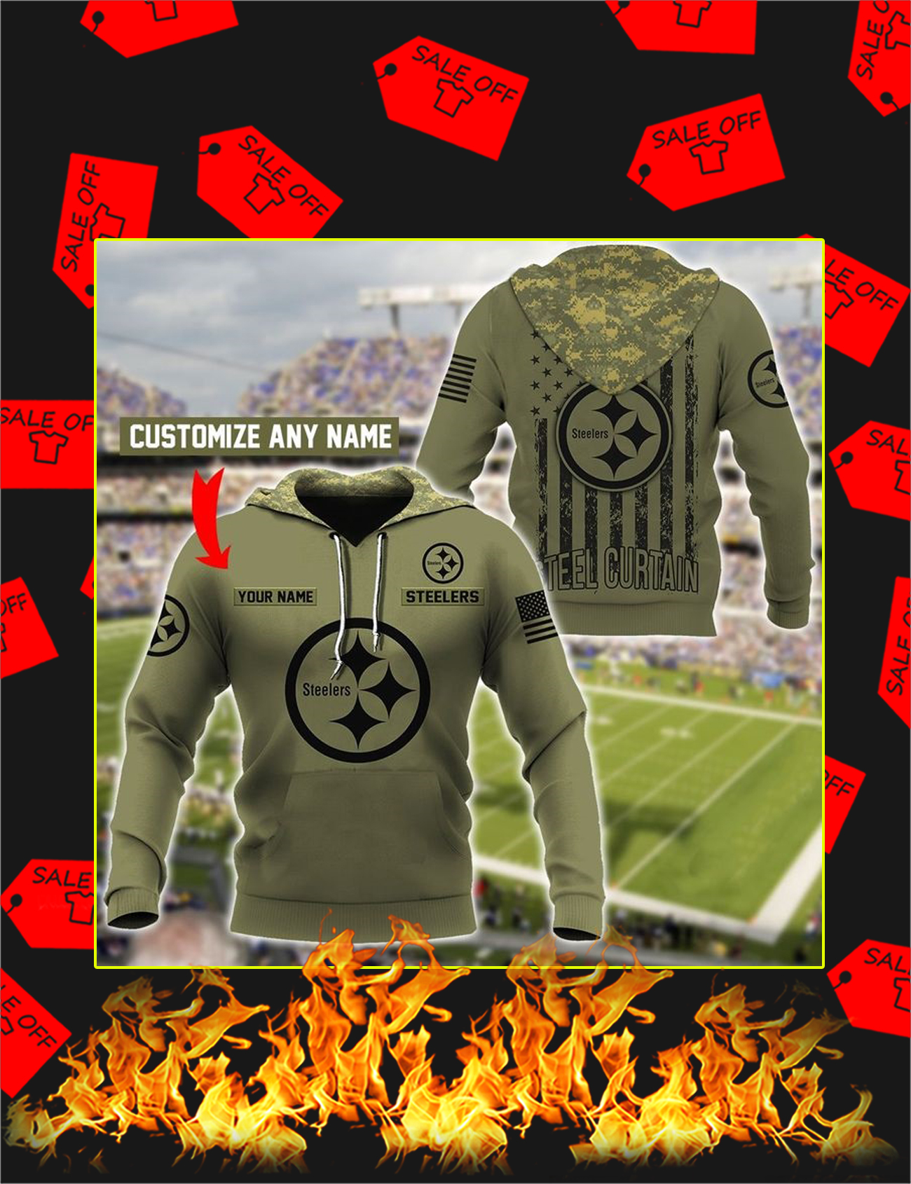 Steelers Customize Custom Name 3D Hoodie - Size XL