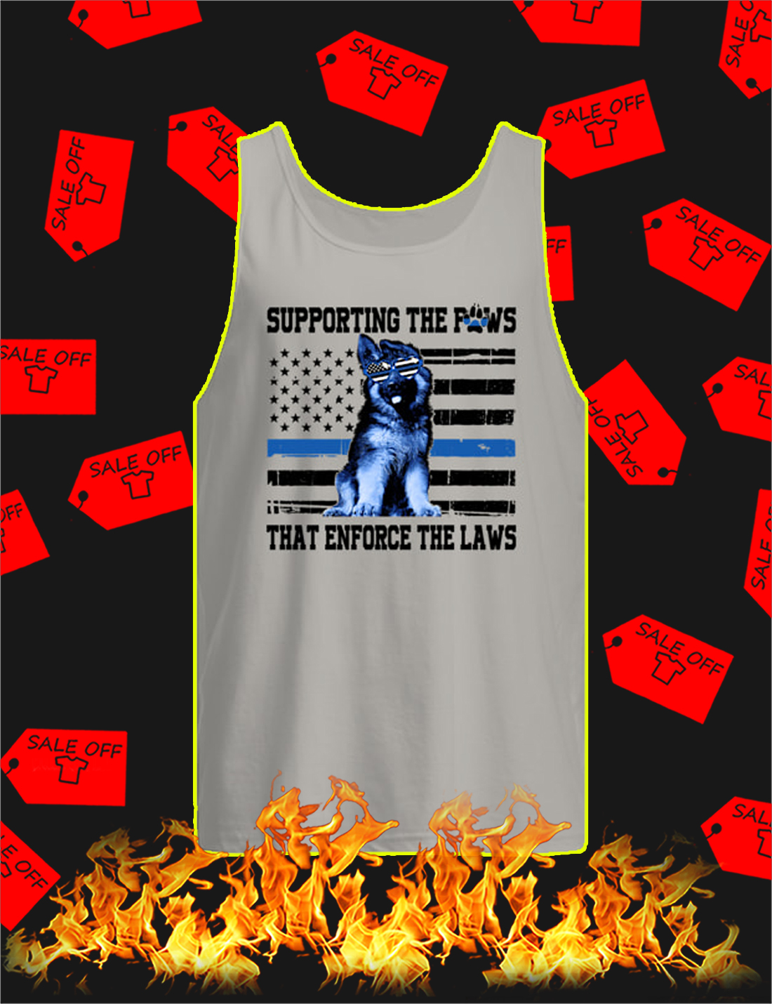Supporting The Paws That Enforce The Laws Blue Line Tank Top