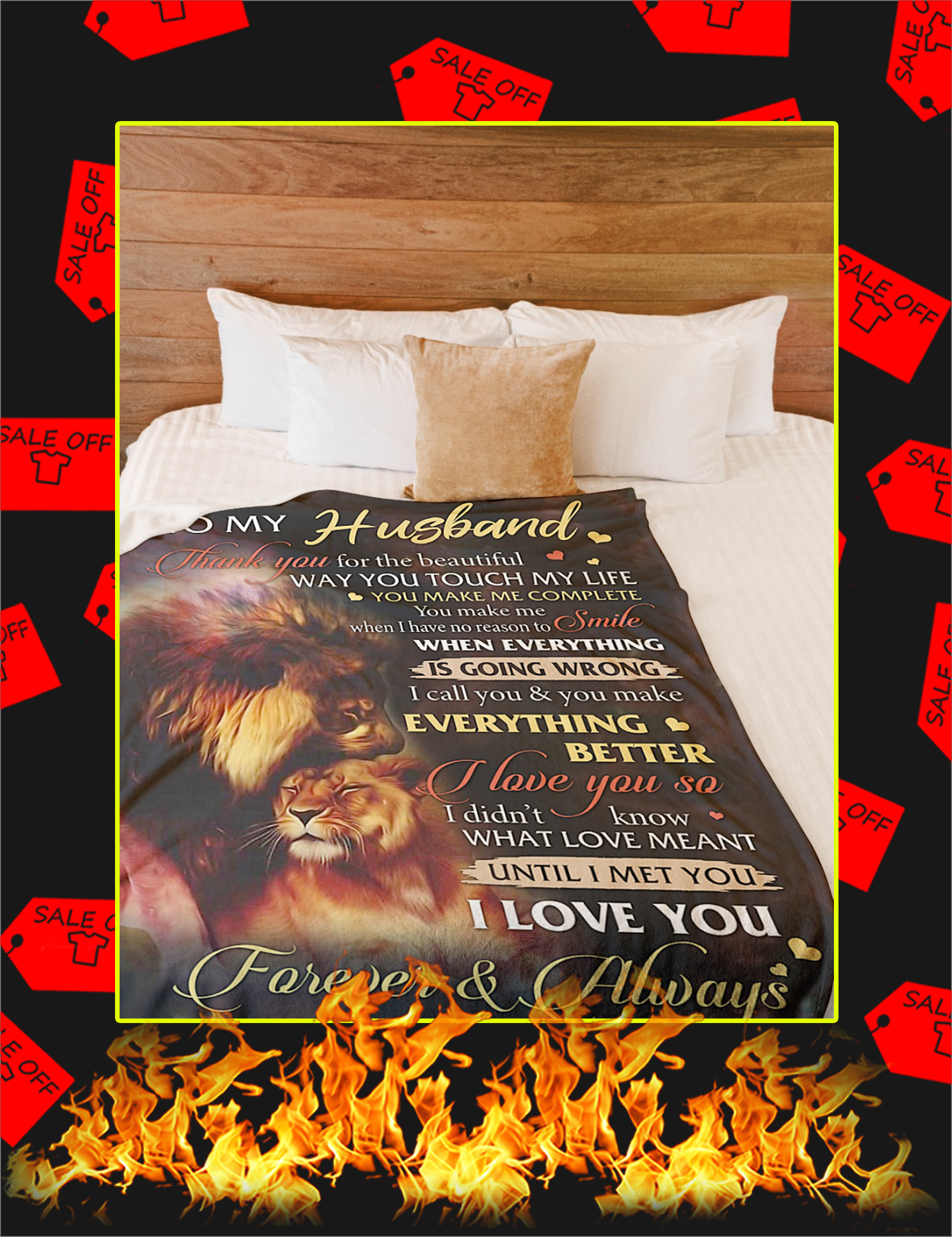 To My Husband Lion Wife Blanket - Large