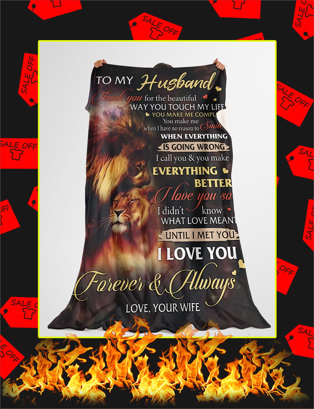 To My Husband Lion Wife Blanket - Youth