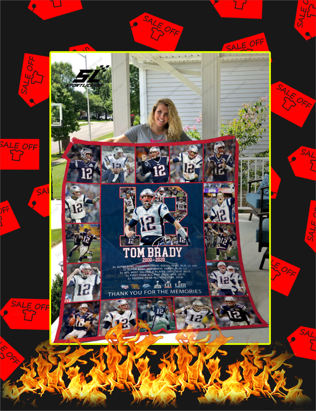 Tom Brady Thank You For The Memories Quilt Blanket - Picture 1