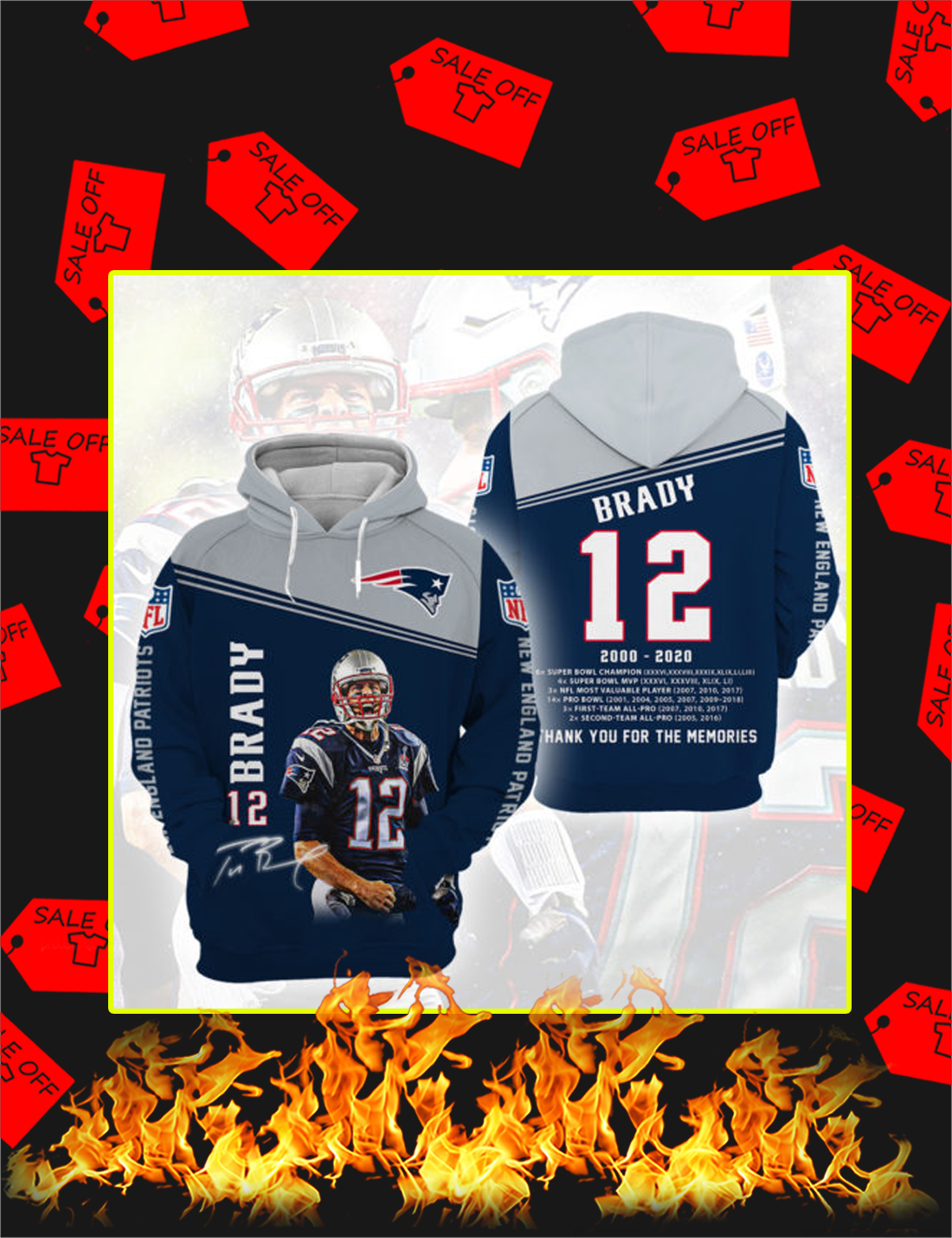 Tom Brady Thank You For The Memories Signature 3d hoodie - Picture 1