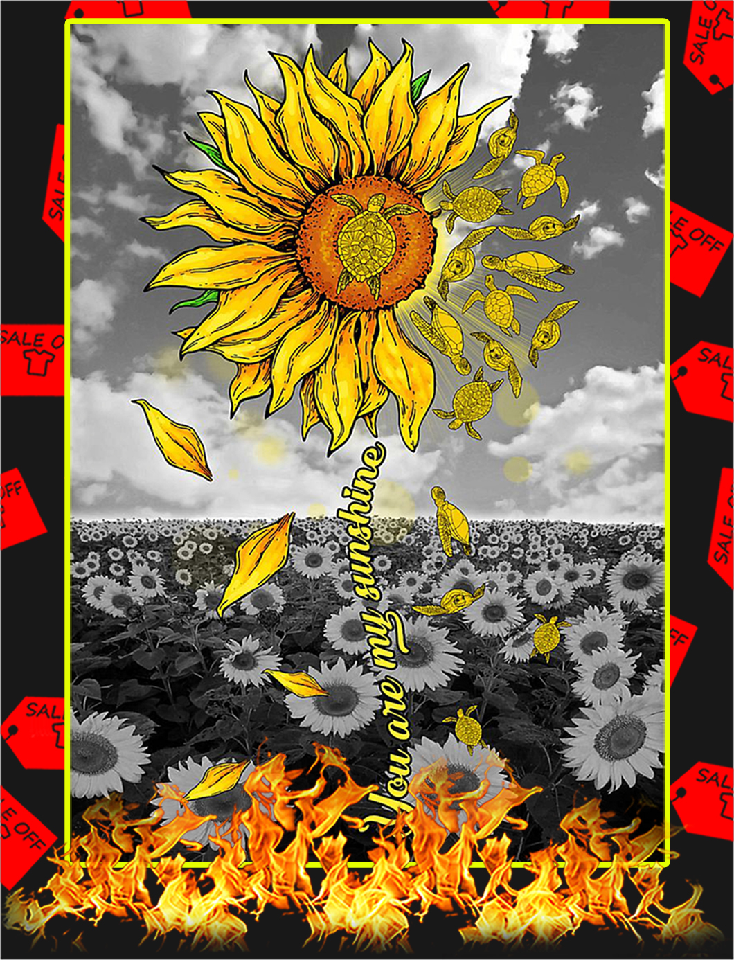 Turtles Sunflower You Are My Sunshine Poster - A1