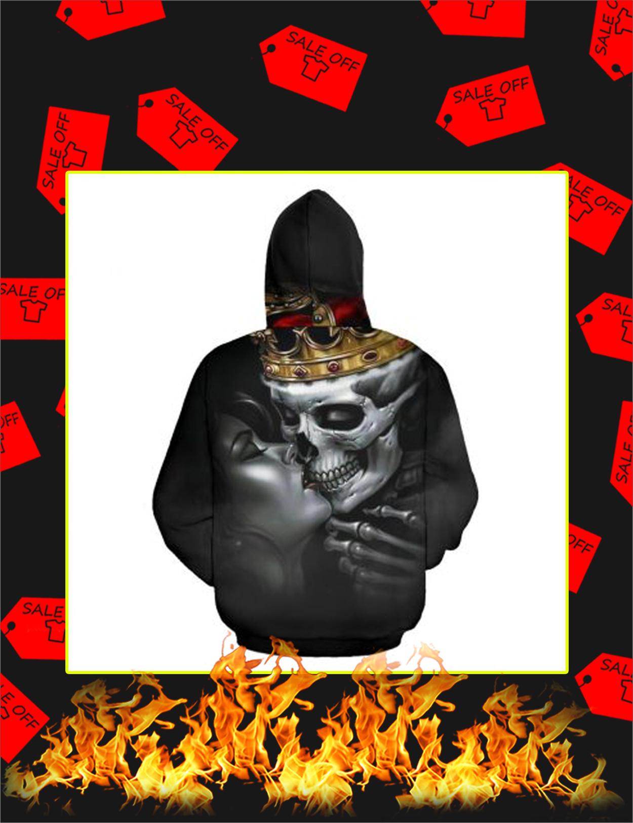 Valentine His Queen Couple Skull 3d Hoodie - Back
