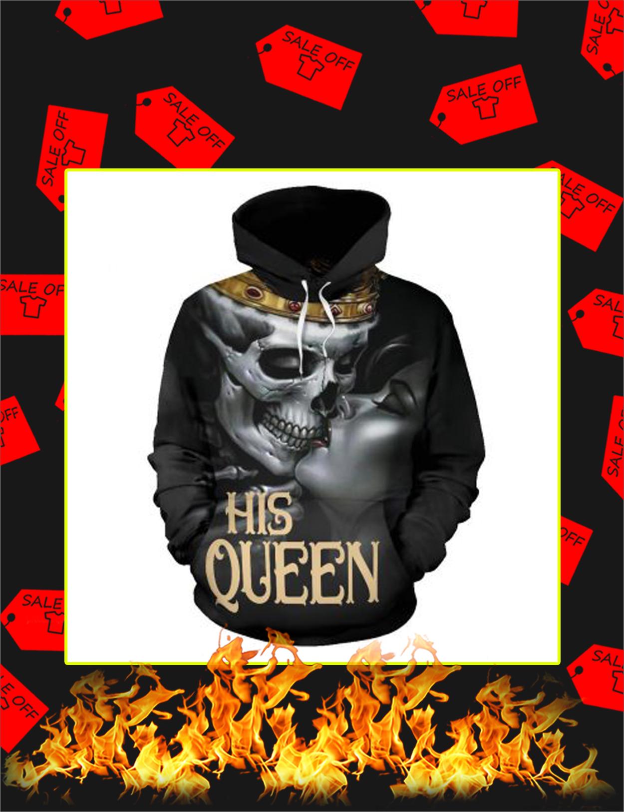 Valentine His Queen Couple Skull 3d Hoodie - Front
