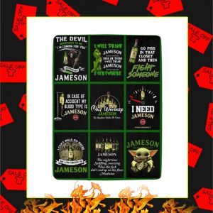 Walt Whiskey Jameson Yoda Grinch Blanket