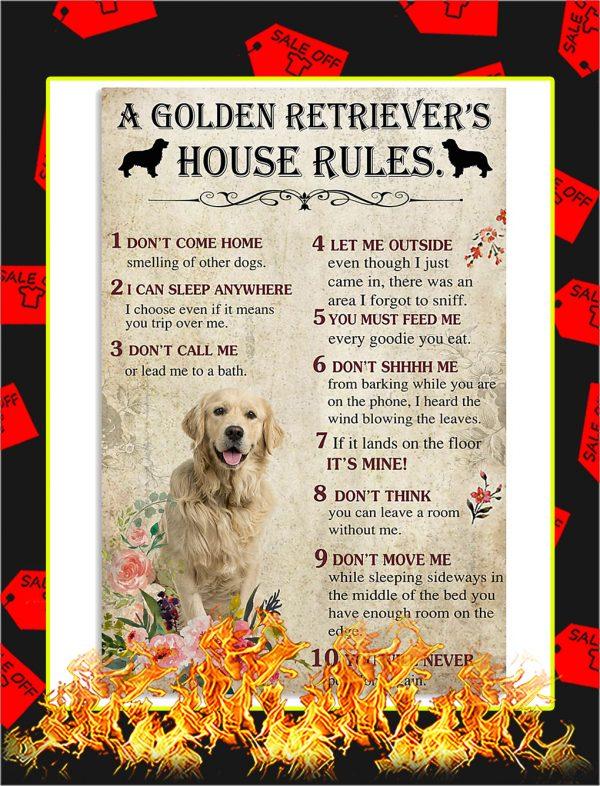 A Golden Retriever House Rules Poster