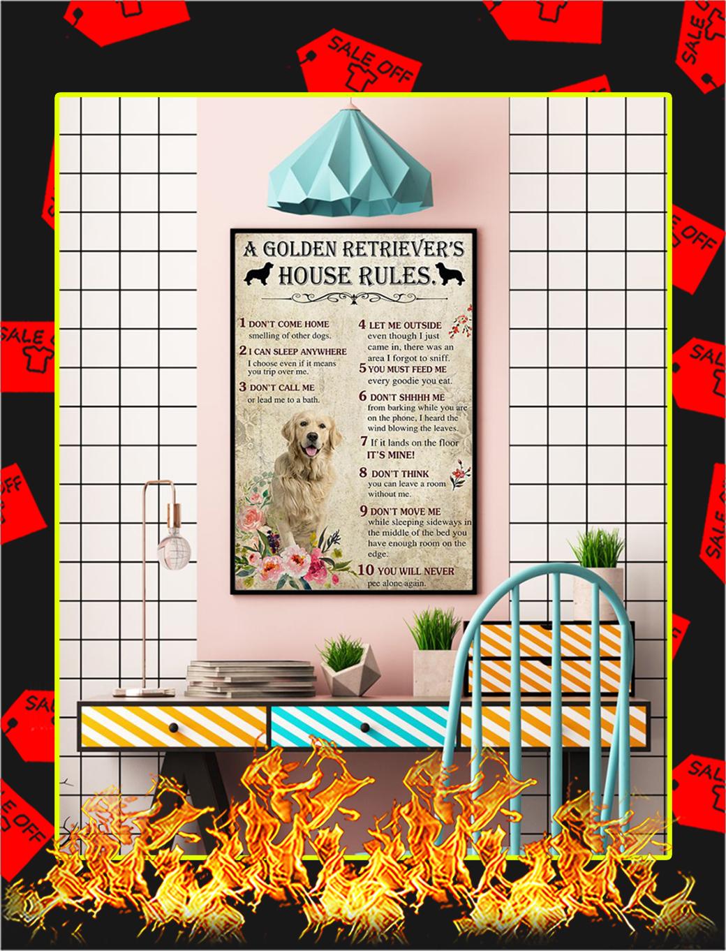 A Golden Retriever House Rules Poster- A2