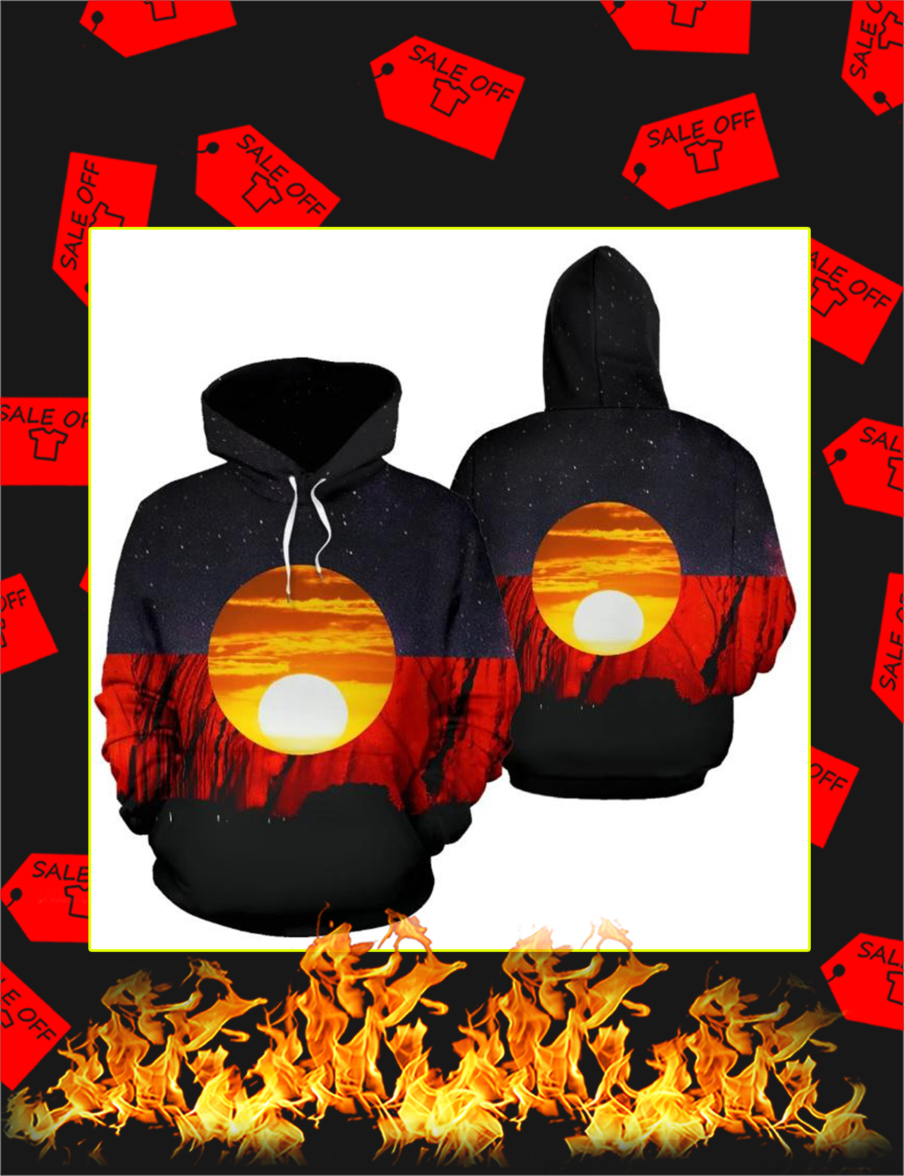Australian aboriginal flag 3d all over printed hoodie - Picture 1
