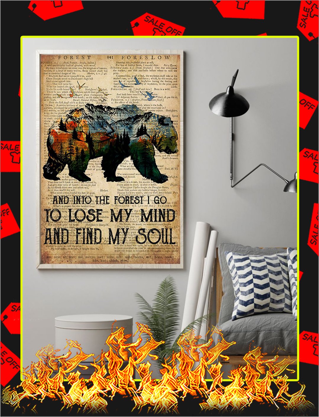 Bear Camping And Into The Forest Poster- A1