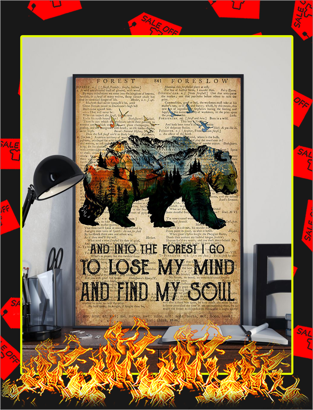 Bear Camping And Into The Forest Poster- A3