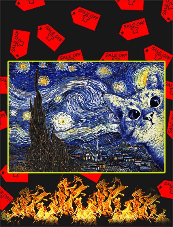 Cat The Starry Night Van Gogh Poster