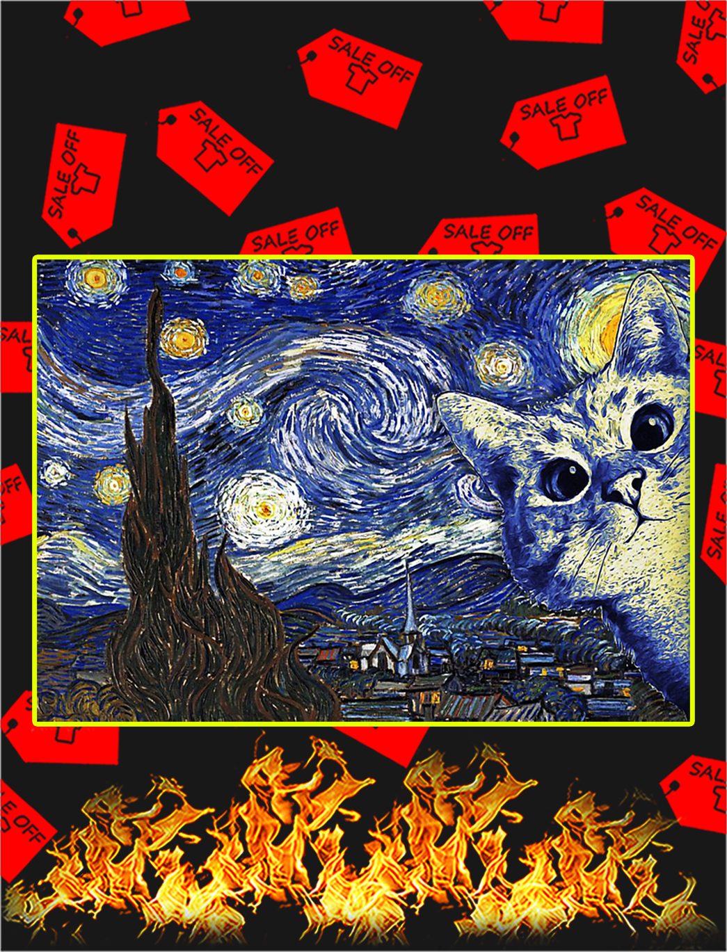 Cat The Starry Night Van Gogh Poster - A2
