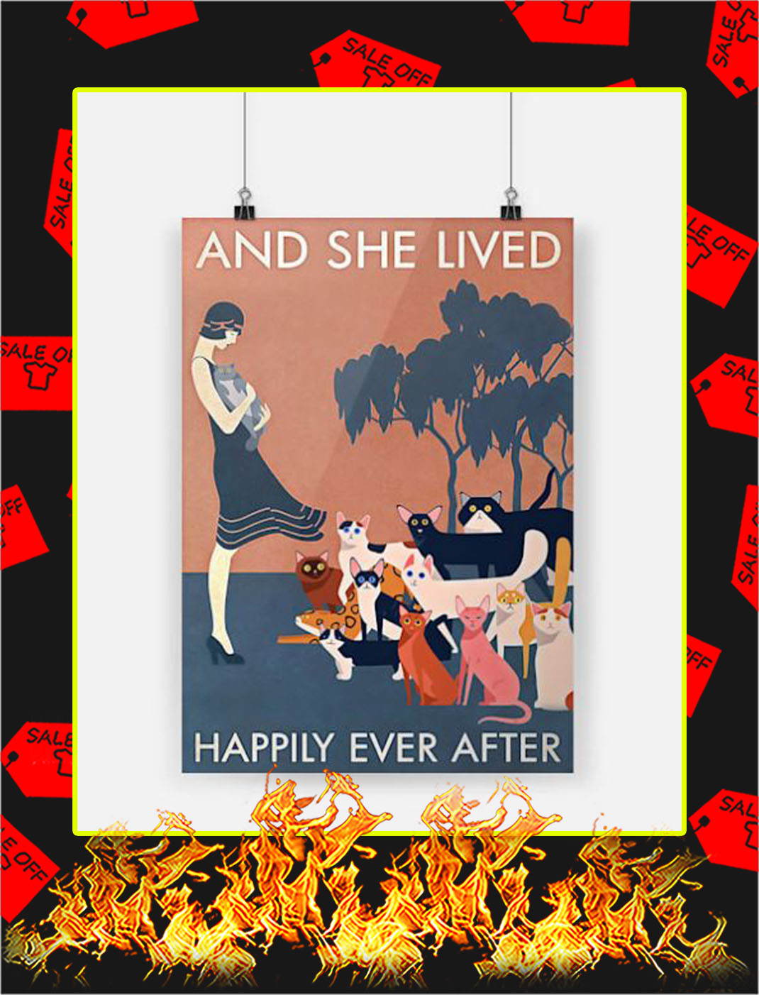Cat and she lived happily ever after poster - A3