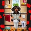 Dachshund sitting on a toilet poster