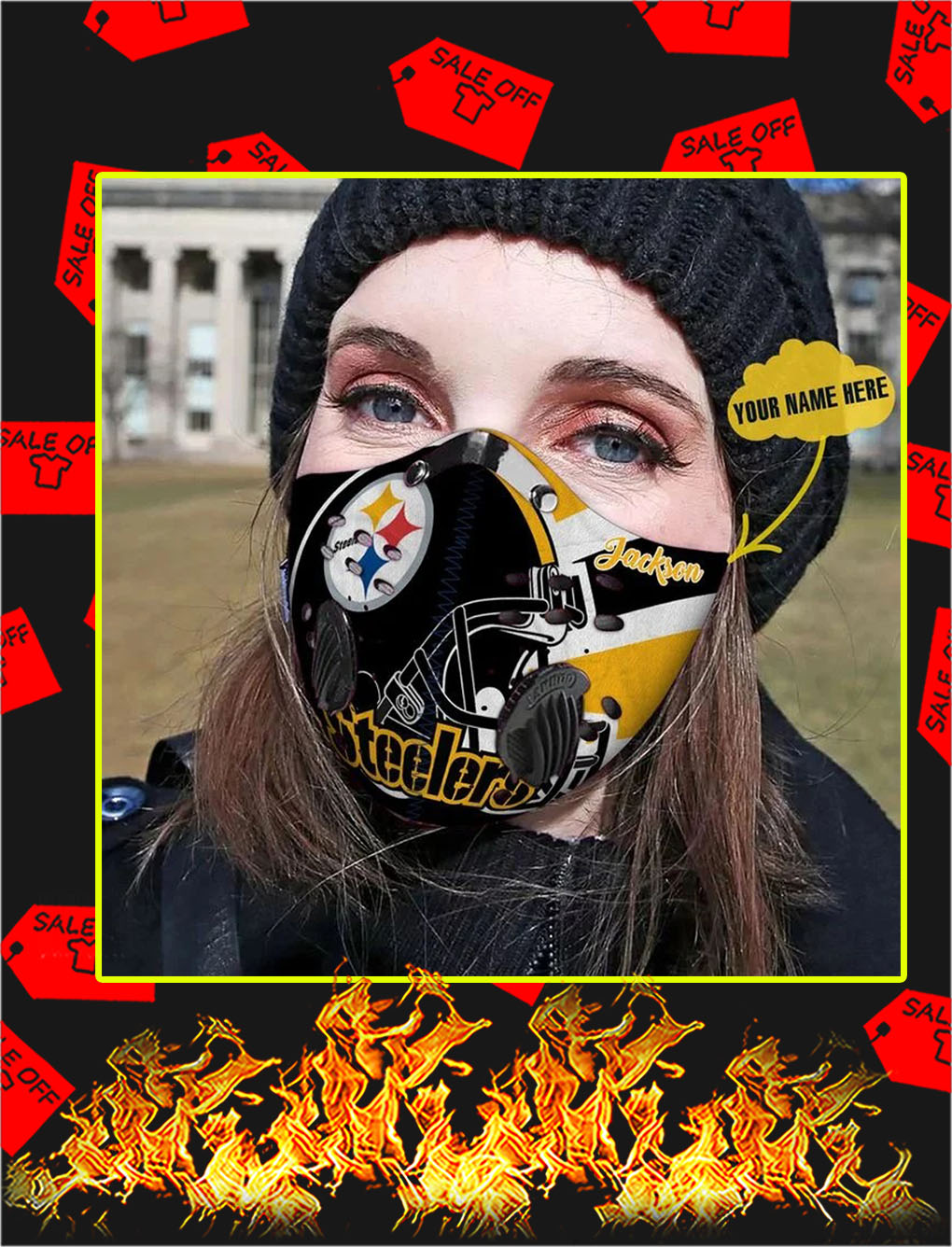 Pittsburgh steelers personalized custom name filter face mask- pic 1