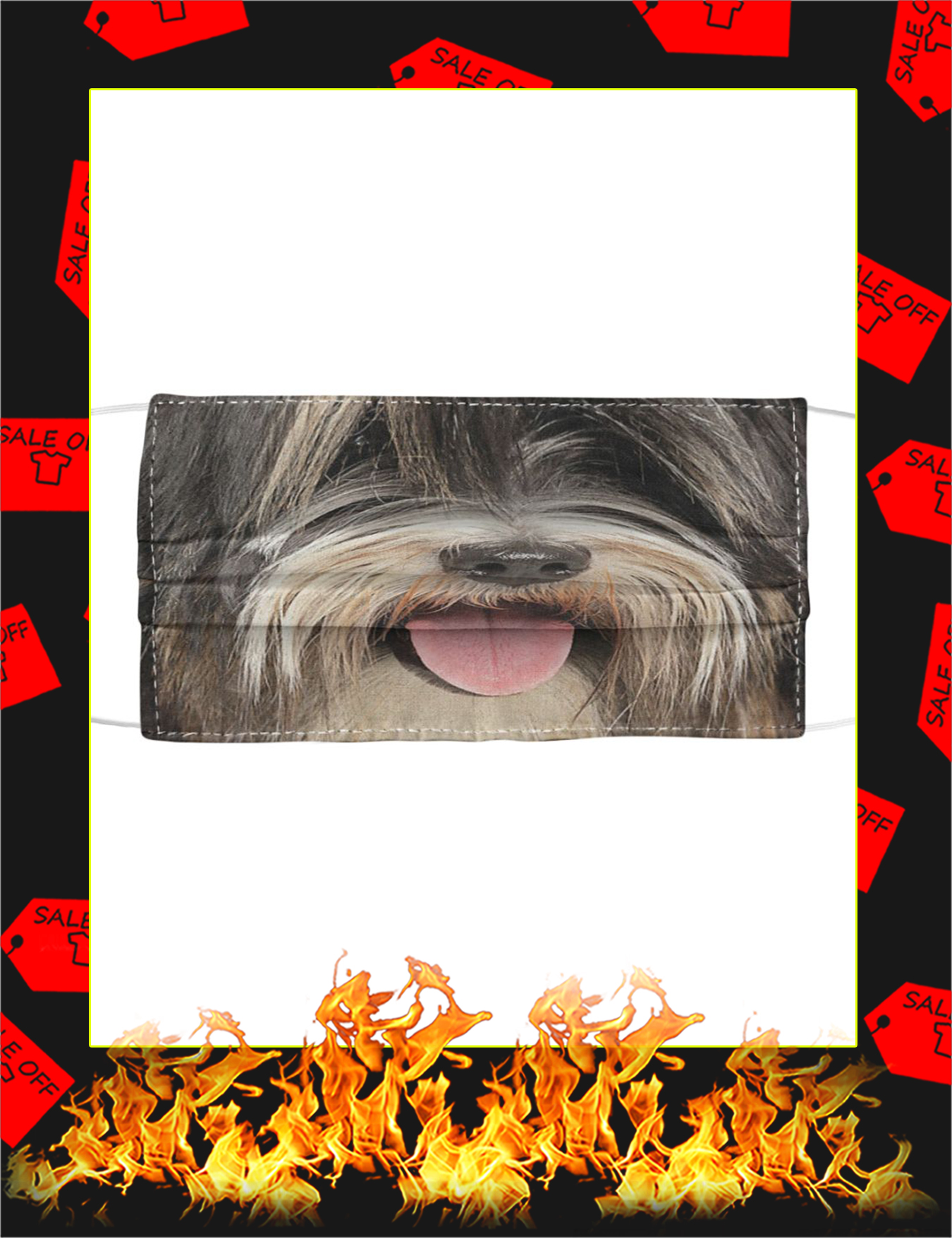 Tibetan Terrier Cloth Face Mask - Picture 1